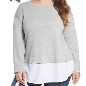 Caslon Woven Hem Sweatshirt Womens Plus Size 3X